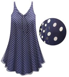 CLEARANCE! Customizable Navy With White Polka Dots Print Sheer A-Line Overshirt Supersize & Plus Size Top 0x 4x