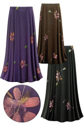 CLEARANCE! Customizable Painterly Florals Slinky Print Plus Size & Supersize Skirts-Sizes XL