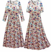 CLEARANCE! Customizable Plus Size Blue & Orange Floral Slinky Print Long Sleeve Dresses 0x