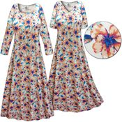 SOLD OUT! Customizable Plus Size Blue & Orange Floral Slinky Print Long Sleeve Dresses