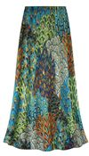 CLEARANCE! Customizable Plus Size Green Perfectly Peacock Slinky Print Skirts - Sizes XL Tall