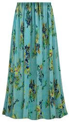 CLEARANCE! Customizable Plus Size Sea Foam Floral Crinkle Satin Skirts - Size 3x