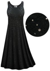 90d159cb3240c Customizable Plus Size Solid Black with Sequins Princess Cut Poly