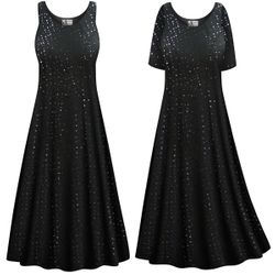 CLEARANCE! Plus Size Solid Black with Sequins Princess Cut Poly/Cotton Jersey Tank Dress 0x 1x 3x