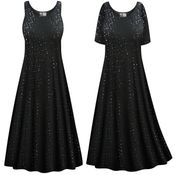 CLEARANCE! Plus Size Solid Black with Sequins Princess Cut Poly/Cotton Jersey Tank Dress 0x 1x 3x 7x