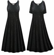 CLEARANCE! Plus Size Solid Black with Sequins Princess Cut Poly/Cotton Jersey Tank Dress 0x 1x 7x