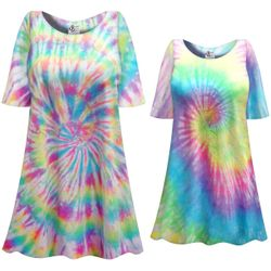 CLEARANCE! Easter Egg Swirl Pastel Tie Dye Plus Size & Supersize X-Long T-Shirt 1x 5x