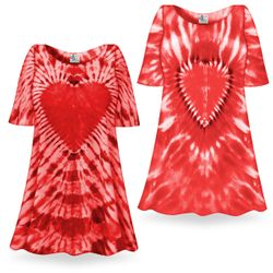 SOLD OUT! Fiery Red Heart Tie Dye Supersize X-Long Plus Size T-Shirt
