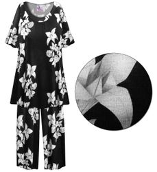 SOLD OUT! CLEARANCE! Floral Origami Print Plus Size & SuperSize 2 Piece Pajama Pant Set 6x