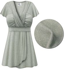 CLEARANCE! Gray with Silver Glimmer MAGIC BABYDOLL Top In Plus Size & Supersize XL