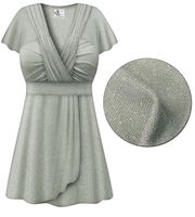 CLEARANCE! Gray with Silver Glimmer MAGIC BABYDOLL Top In Plus Size & Supersize XL 2x