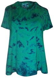 SOLD OUT! Green With Navy Tie Dye Round Neck Plus Size & Supersize T-Shirts 1x 3x 5x