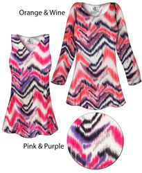 SOLD OUT! Groovy Zig Zag Slinky Print Plus Size & Supersize Short or Long Sleeve Shirts - Tunics - Tank Tops
