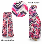 CLEARANCE! Groovy Zig Zags Slinky Print Plus Size & Supersize Palazzo Pants or Tapered Pants 2x