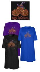 SOLD OUT! Happy Halloween 3 Pumpkins Sparkly Rhinestud Plus Size & Supersize T-Shirts 5x