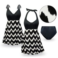 CLEARANCE! Heart Breaker Print Halter or Shoulder Strap 2pc Plus Size Swimsuit/SwimDress 1x