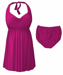 SOLD OUT! Magenta Pink Plus Size & Supersize Halter 2pc Swimdress 5x