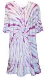 SOLD OUT! Magenta Swirl on Light Blue Tie Dye Plus Size T-Shirt