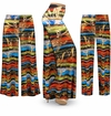 CLEARANCE! Metallic Abstract Lines Slinky Print Plus Size & Supersize Palazzo Pants - Tapered Pants 8x