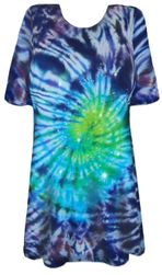 CLEARANCE! Midnight Aurora Tie Dye Long Plus Size T-Shirt 5xl 4x