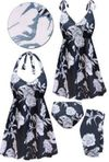 CLEARANCE! Moonlit Garden Print Halter or Shoulder Strap 2pc Swimsuit/SwimDress 3X 7x