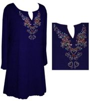 Navy Blue Rhinestone Plus Size & Supersize Extra Long Shirts 3x