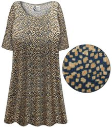 CLEARANCE! Navy & Tan Dots Abstract Slinky Print Plus Size & Supersize Short or Long Sleeve Shirts - Tunics - Tank Tops 5x