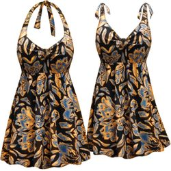 CLEARANCE!  Neon Orange Floral Print Halter or Shoulder Strap 2pc Plus Size Swimsuit/SwimDress 1x 6x