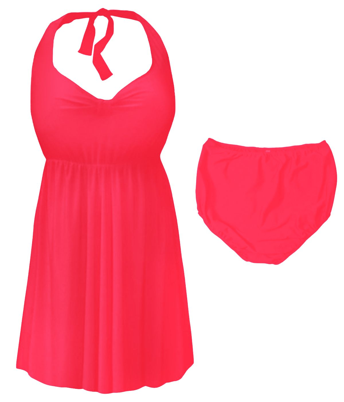 38e69dc6488 SOLD OUT! Neon Pink Plus Size & Supersize Halter 2pc Swimdress