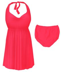 CLEARANCE! Neon Pink Plus Size & Supersize Halter 2pc Swimdress 6x 8x