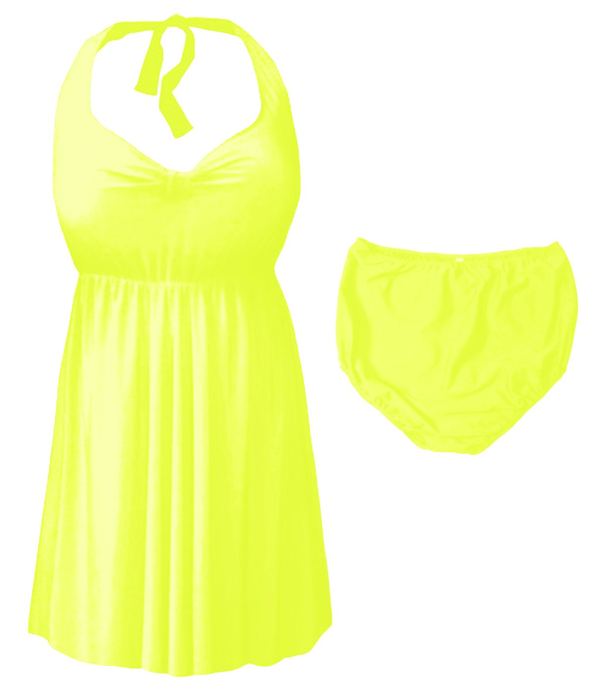4728ac26da276 CLEARANCE! Neon Yellow Plus Size   Supersize Halter 2pc Swimdress 2x 4x