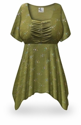 SOLD OUT! Plus Size Olive Grove Print Babydoll Top 5xT