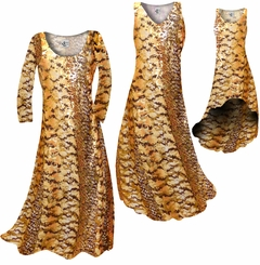 SOLD OUT! Orange, Brown, and Yellow Autumn Leaves Metallic Slinky Print Plus Size & Supersize Short or Long Sleeve Dresses & Tanks 5x