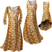 CLEARANCE! Orange, Brown, and Yellow Autumn Leaves Metallic Slinky Print Plus Size & Supersize Short or Long Sleeve Dresses & Tanks 5x