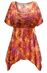 FINAL CLEARANCE SALE! Plus Size Orange Crackle Slinky Print Babydoll Top 2x