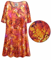 SOLD OUT! Orange Crackle Slinky Print Plus Size & Supersize Short or Long Sleeve Shirts - Tunics - Tank Tops - Sizes 1x