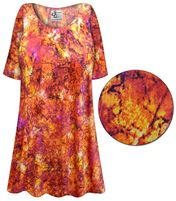 CLEARANCE! Orange Crackle Slinky Print Plus Size & Supersize Short or Long Sleeve Shirts - Tunics - Tank Tops - Sizes 1x 5x