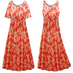 CLEARANCE! Orange Inkblots Plus Size & SuperSize Princess Cut Poly/Cotton Jersey Dress 0x 2x 9x