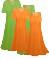 SALE! Orange or Green Customizable Solid Color Slinky Plus Size Dresses - Tops & Skirts! 0x 1x 2x 3x 4x 5x 6x 7x 8x