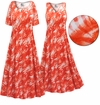 CLEARANCE! Orange Wavy Abstract Slinky Print Plus Size & Supersize Short or Long Sleeve Dresses & Tanks - Sizes 1x 3x