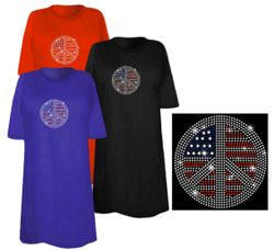 CLEARANCE! Patriotic Flag Peace Sign Sparkly Rhinestuds Plus Size & Supersize T-Shirts 3x