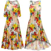 CLEARANCE! Peachy Florals Slinky Print Plus Size & Supersize Short or Long Sleeve Dresses & Tanks - Sizes LG