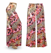 SOLD OUT! Pink Leopard with Gold Metallic Slinky Print Plus Size & Supersize Palazzo Pants LG