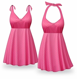 SOLD OUT! Pink Polka Dots Print Halter or Shoulder Strap 2pc Plus Size Swimsuit/SwimDress 2x