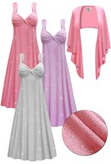 CLEARANCE! Plus Size 2-Piece Pink Lavender or Silver Glittery Slinky Princess Seam Dress Set  7x