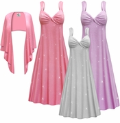 CLEARANCE! Plus Size 2-Piece Pink Lavender or Silver Glittery Slinky Princess Seam Dress Set  5x