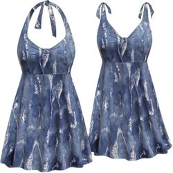 SOLD OUT! Plus Size Arctic Print Halter or Shoulder Strap 2pc Swimsuit/SwimDress
