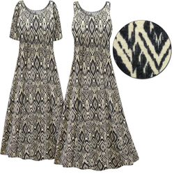 SOLD OUT Plus Size Black & Cream Abstract Print Princess Cut Poly/Cotton Jersey Dress 6x