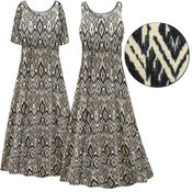 CLEARANCE! Plus Size Black & Cream Abstract Print Princess Cut Poly/Cotton Jersey Dress 6x