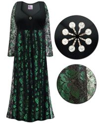 SOLD OUT! Plus Size Black & Green Lace Floral Print Empire Waist Dress With Rhinestone Detail